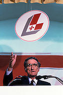 Quebec, Canada, April 5 1981. Claude Ryan,  (January 26, 1925 - February 9, 2004) leader of the Parti Libéral du Québec from 1978 to 1982, campaigning in various parts of Quebec for the legislative elections of the next April 13.
