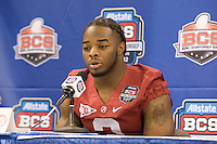 Trent Richardson of Alabama talks with the reporters during BCS Media Day at Mercedes-Benz Superdome in New Orleans, Louisiana on January 6th, 2012.