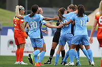 Piscataway, NJ - Saturday May 20, 2017: Samantha Kerr, Kelley O'Hara, Sarah Killion, Raquel Rodriguez during a regular season National Women's Soccer League (NWSL) match between Sky Blue FC and the Houston Dash at Yurcak Field.  Sky Blue defeated Houston, 2-1.
