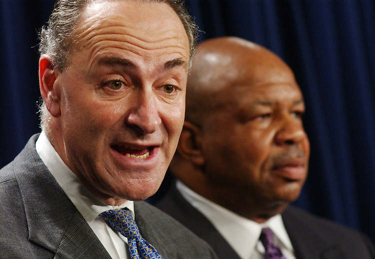 10/30/03.PICKERING CLOTURE VOTE--Sen. Charles E. Schumer, D-N.Y., and House Congressional Black Caucus Chairman Elijah E. Cummings, D-Md., during a news conference after a cloture vote failed to end a Democrat-led filibuster of the nomination of Charles W. Pickering Sr. to the 5th U.S. Circuit Court of Appeals, adding the Mississippi jurist to a growing list of President Bush's judicial nominees blocked by filibusters..CONGRESSIONAL QUARTERLY PHOTO BY SCOTT J. FERRELL