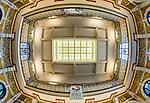 Fisheye view of the ceiling in Dunedin Railway Station in Dunedin, New Zealand