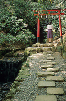 A passerby claps her hands at the simple torii gate and altar to honor the spirit, or kami,of the nearby stream.