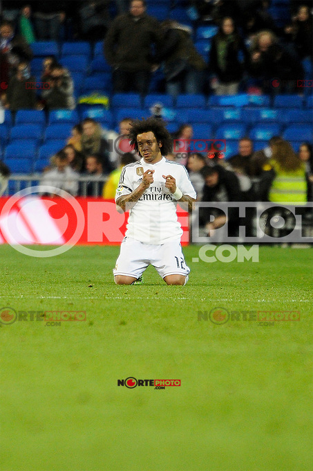 Real Madrid´s Marcelo Vieira during 2014-15 La Liga match between Real Madrid and Levante UD at Santiago Bernabeu stadium in Madrid, Spain. March 15, 2015. (ALTERPHOTOS/Luis Fernandez) /NORTEphoto.com