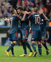 FUSSBALL   CHAMPIONS LEAGUE   SAISON 2013/2014   Vorrunde FC Bayern Muenchen - ZSKA Moskau       17.09.2013 JUBEL FC Bayern; Franck Ribery, Mario Mandzukic, Arjen Robben und Philipp Lahm (v.li.)