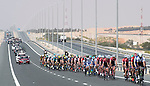 The peloton in action during Stage 1 Emirates Motor Company Stage of the 2017 Abu Dhabi Tour, running 189km from Madinat Zayed through the desert and back to Madinat Zayed, Abu Dhabi. 23rd February 2017<br /> Picture: ANSA/Claudio Peri | Newsfile<br /> <br /> <br /> All photos usage must carry mandatory copyright credit (&copy; Newsfile | ANSA)
