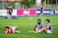 Nathan Catt, Kane Palma-Newport and Nick Auterac of Bath Rugby. Pre-season friendly match, between Leinster Rugby and Bath Rugby on August 26, 2016 at Donnybrook Stadium in Dublin, Republic of Ireland. Photo by: Patrick Khachfe / Onside Images
