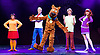Scooby-Doo! Live Musical Mysteries <br /> at The Palladium, London, Great Britain <br /> press photocall <br /> 17th August 2016 <br /> <br /> Charlie Bull as Daphne <br /> Chris Warner Drake as Fred <br /> Joe Goldie as Scooby-Doo <br /> Charlie Haskins as Shaggy <br /> Rebecca Withers as Velma<br /> <br /> <br /> Photograph by Elliott Franks <br /> Image licensed to Elliott Franks Photography Services