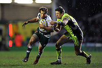 Gonzalo Camacho of Leicester Tigers takes on the Sale Sharks defence. Aviva Premiership match, between Leicester Tigers and Sale Sharks on February 6, 2016 at Welford Road in Leicester, England. Photo by: Patrick Khachfe / JMP