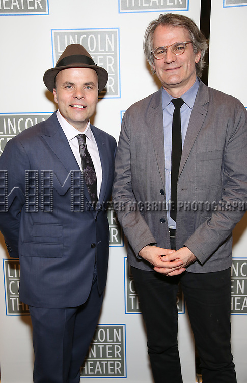 J.T. Rogers and Bartlett Sher attend the Opening Night Performance press reception for the Lincoln Center Theater production of 'Oslo' at the Vivian Beaumont Theater on April 13, 2017 in New York City.