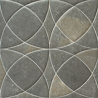 Zazen Grande, a waterjet stone mosaic, shown in Venetian honed Cavern, is part of the Miraflores Collection by Paul Schatz.