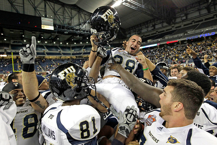 Field goal by Jack Griffin kicks the winning points in the fourth quarter during the Toledo Rockets vs Florida International Golden Panthers in the 2010 Little Caesars Pizza Bowl at Ford Field in Detroit, Michigan on Sunday, December 26, 2010.