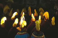Tibetan monks of Namgyal Monastery during Losar, Tibetan New Year celebration.