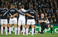 The expressions of Ali Williams, New Zealand as the All Blacks perform the Haka to the facing french team before the start of the New Zealand V France, Pool A match during the IRB Rugby World Cup tournament. Eden Park, Auckland, New Zealand, 24th September 2011. Photo Tim Clayton...