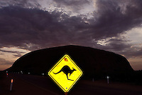 A kangaroo warning sign near Uluru (Ayres rock)at night, NT, Australia