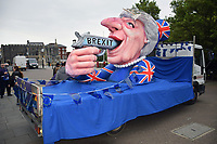 Anti-Brexit protest outside The Forum in Norwich with Theresa May float. 18 May 2017 UK