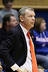 22 March 2014: Winthrop head coach Kevin Cook. The Duke University Blue Devils played the Winthrop University Eagles in an NCAA Division I Women's Basketball Tournament First Round game at Cameron Indoor Stadium in Durham, North Carolina.