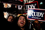 Supporters of Republican presidential hopeful and former mayor of New York City rally on the eve of the New Hampshire presidential primaries in Manchester, N.H., on Monday, Jan. 7, 2008.