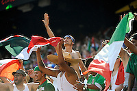 Mexico (MEX) fans celebrate at the end of the game. Mexico (MEX) defeated the United States (USA) 5-0 during the finals of the CONCACAF Gold Cup at Giants Stadium in East Rutherford, NJ, on July 26, 2009.