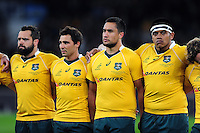James Hanson, Nick Phipps, Leroy Houston and Allan Ala'alatoa of Australia line up for the national anthems. The Rugby Championship match between Argentina and Australia on October 8, 2016 at Twickenham Stadium in London, England. Photo by: Patrick Khachfe / Onside Images