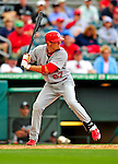 1 March 2009: St. Louis Cardinals' shortstop Tyler Greene at bat during a Spring Training game against the Florida Marlins at Roger Dean Stadium in Jupiter, Florida. The Cardinals outhit the Marlins 20-13 resulting in a 14-10 win for the Cards. Mandatory Photo Credit: Ed Wolfstein Photo