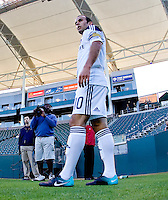 LA Glaxy midfielder Landon Donovan (10) prepares for a cornerkick. The Puerto Rico Islanders defeated the LA Galaxy 4-1 during CONCACAF Champions League group play at Home Depot Center stadium in Carson, California on Tuesday July 27, 2010.