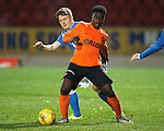 St Johnstone v Dundee Utd..10.11.15  SPFL Development League.  McDiarmid Park, Perth.<br /> Justin Johnson is tackled by Greg Page<br /> Picture by Graeme Hart.<br /> Copyright Perthshire Picture Agency<br /> Tel: 01738 623350  Mobile: 07990 594431