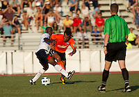 Jlloyd Samuel (BW) makes the tackle on Diego Martins of the Charlotte Eagles.  The Charlotte Eagles currently in 3rd place in the USL second division played a friendly against the Bolton Wanderers from the English Premier League losing 3-0.