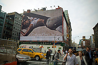 A Calvin Klein billboard in the Soho neighborhood of New York on Friday, May 28, 2010 features the actress Eva Mendes.  Klein's advertisements use sex and provocative images to test society's cultural and moral boundries. (© Richard B. Levine)