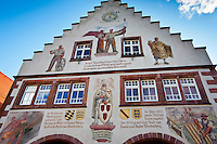 The Rathaus town hall with murals and crests in Schiltach in Bavaria, Germany