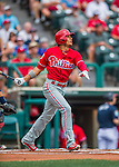 11 March 2016: Philadelphia Phillies infielder Cesar Hernandez in action during a Spring Training pre-season game against the Atlanta Braves at Champion Stadium in the ESPN Wide World of Sports Complex in Kissimmee, Florida. The Phillies defeated the Braves 9-2 in Grapefruit League play. Mandatory Credit: Ed Wolfstein Photo *** RAW (NEF) Image File Available ***