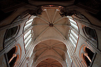 OISE, FRANCE - OCTOBER 26: View  from below of the ceiling of the nave of the Cathedral Notre-Dame de Senlis on October 26, 2008 in Oise, France. The cathedral was built between 1153 and 1191. (Photo by Manuel Cohen)