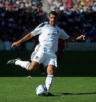 LA Galaxy midfielder Jovan Kirovski (9) takes a shot.  The LA Galaxy tied the Chicago Fire 1-1 at Toyota Park in Bridgeview, IL on September 4, 2010