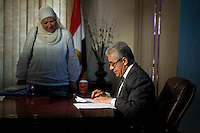 Hamdeen Sabahi in his office at his headquarter.