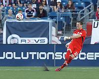 New England Revolution goalkeeper Bobby Shuttleworth (22). In a Major League Soccer (MLS) match, the New England Revolution (blue/white) defeated Houston Dynamo (orange), 2-0, at Gillette Stadium on April 12, 2014.