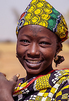 Niger.  Young Village Woman with Tattoo on Forehead.