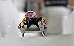 7 February 2009:  David Moller slides for Germany in the Men's Competition at the 41st FIL Luge World Championships, in Lake Placid, New York, USA. .  .Mandatory Photo Credit: Ed Wolfstein Photo