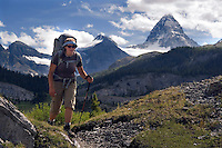 The Highline trail, Alberta and British Columbia, Canada, August 2008. At the end of the Valley of the rocks, Mt Assiniboine comes finally into view. The Banff Highline trail can be hiked in 7 days and runs through Banff National park as well as Assiniboine Provincial park. Photo by Frits Meyst/Adventure4ever.com