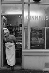 Brick Lane cafe owner. East London England. 1974<br /> <br /> 16x12 PARIS 2015 LES DOUCHES LA GALERIE <br /> <br /> THIS ARE MEDIUM RES FILES ONLY FOR REFERENCE AND SHOULD NOT BE SENT OUT THEY OPEN AT 11MGB