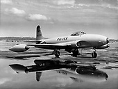 """The Lockheed F-80 Shooting Star was the first United States Air Force (USAF) aircraft to exceed 500 mph in level flight, the first American jet airplane to be manufactured in large quantities and the first USAF jet to be used in combat. Designed in 1943, the XP-80 made its maiden flight on January 8, 1944. Several early P-80s were sent to Europe for demonstration, but World War 2 ended before the aircraft could be employed in combat. (The aircraft was redesignated in 1948 when """"P"""" for """"Pursuit"""" was changed to """"F"""" for """"Fighter."""") Of 1,731 F-80s built, 798 were F-80Cs.  Although it was designed as a high-altitude interceptor, the F-80C was used extensively as a fighter-bomber in the Korean War, primarily for low-level rocket, bomb and napalm attacks against ground targets. On November 8, 1950, an F-80C flown by Lt. Russell J. Brown, flying with the 16th Fighter-Interceptor Squadron, shot down a Russian-built MiG-15 in the world's first all-jet fighter air battle. .Credit: U.S. Air Force via CNP"""