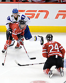 Vitali Svistunov (Kazakhstan - 8), Ryan Ellis (Canada - 8), Jamie Benn (Canada - 24) - Canada defeated Kazakhstan 15-0 on Sunday, December 28, 2008, at Scotiabank Place in Kanata (Ottawa), Ontario, during the 2009 World Junior Championship.
