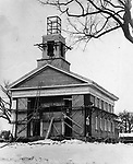 This image shows construction work on Middlebury's Congregational Church in 1936. Fire destroyed the previous building as well as Middlebury's town hall on April 8, 1935.