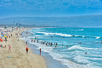 Manhattan; Beach; CA; Lifeguard Station,  Beach, Pacific Ocean Waves