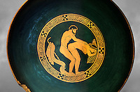 Greek Attica pottery plate with erotic depiction of a man and women, 5th century BC, Secret Museum or Secret Cabinet, Naples National Archaeological Museum , grey art background