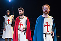 London, UK. 12.06.2014. Bear Trap theatre Company present ENDURING SONG at Southwark Playhouse. Picture shows: Tom Cray (Knight), Alan deVally (Baldwin) and Andy McLeod (Simon/Eustace). Photograph © Jane Hobson.
