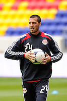 New York Red Bulls goalkeeper Jeremy Vuolo (24) during warmups prior to playing the Colorado Rapids. The New York Red Bulls defeated the Colorado Rapids 4-1 during a Major League Soccer (MLS) match at Red Bull Arena in Harrison, NJ, on March 25, 2012.