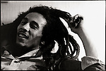 Bob Marley at home (Tuff Gong) in Kingston, Jamaica.  Originally photographed by David Burnett while on assignment for TIME magazine.  March 1976.