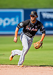 1 March 2017: Miami Marlins infielder Yefri Perez in Spring Training action against the Houston Astros at the Ballpark of the Palm Beaches in West Palm Beach, Florida. The Marlins defeated the Astros 9-5 in Grapefruit League play. Mandatory Credit: Ed Wolfstein Photo *** RAW (NEF) Image File Available ***