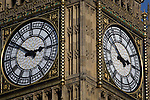 A detail of Big Ben's clock face in Westminster, central London.