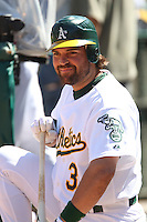 OAKLAND, CA - August 16:  Mike Piazza of the Oakland Athletics smiles in the dugout during the game against the Chicago White Sox at the McAfee Coliseum in Oakland, California on August 16, 2007.  The Athletics defeated the White Sox 8-5.  Photo by Brad Mangin