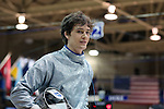 11 February 2017: Duke's Pascual Di Tella (ARG) during his Saber match. The Duke University Blue Devils hosted the Boston College Eagles at Card Gym in Durham, North Carolina in a 2017 College Men's Fencing match. Duke won the dual match 18-9 overall, 9-0 Foil, and 6-3 Saber. Boston College won Epee 6-3.